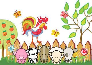 Imagenes para imprimir gratis de La Granja Bebés en Celeste.