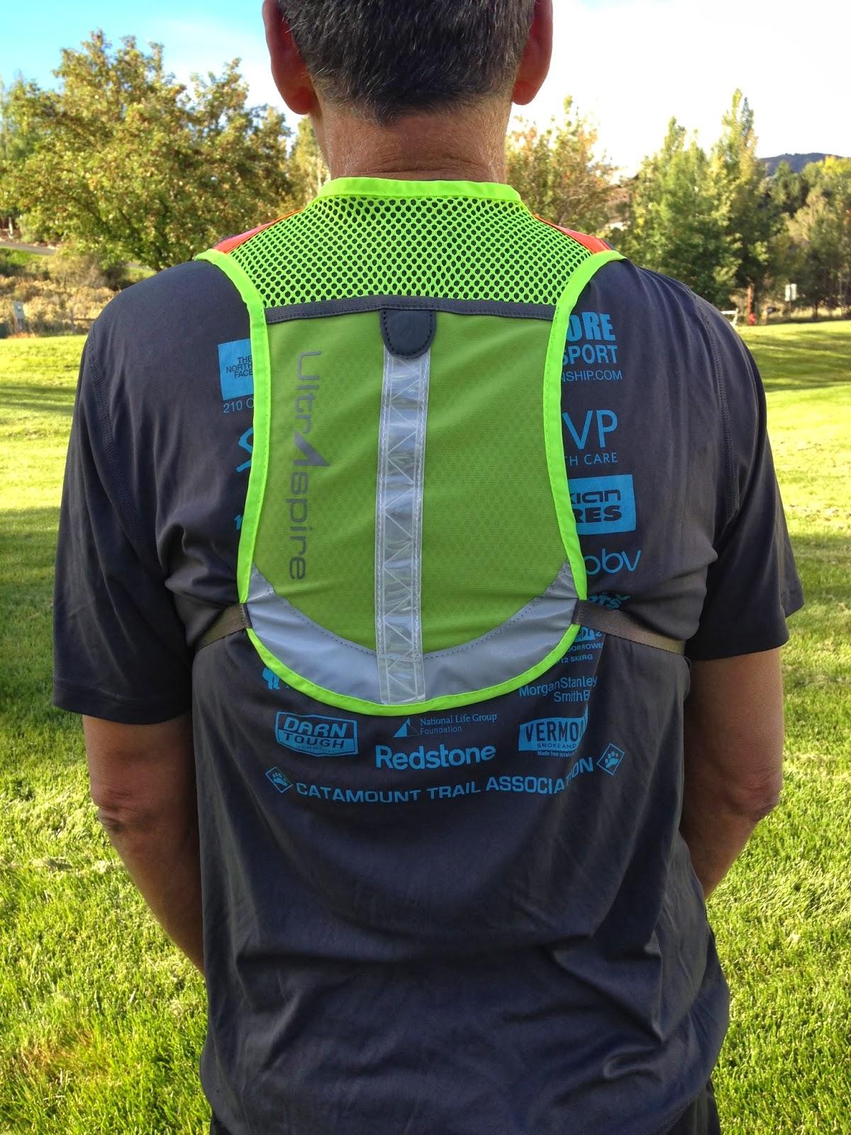 feb8218ce4 UltraSpire UltraViz Run Vest- rear magnetic closure pocket, fits 1 liter  hydration bladder