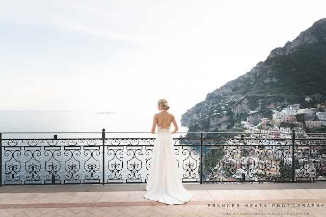 Bride overlooking Positano at Villa Oliviero