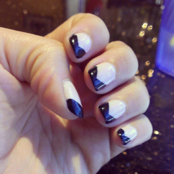 A Few of My Favorite Things Modern French Manicure  Tuxedo Nail Art