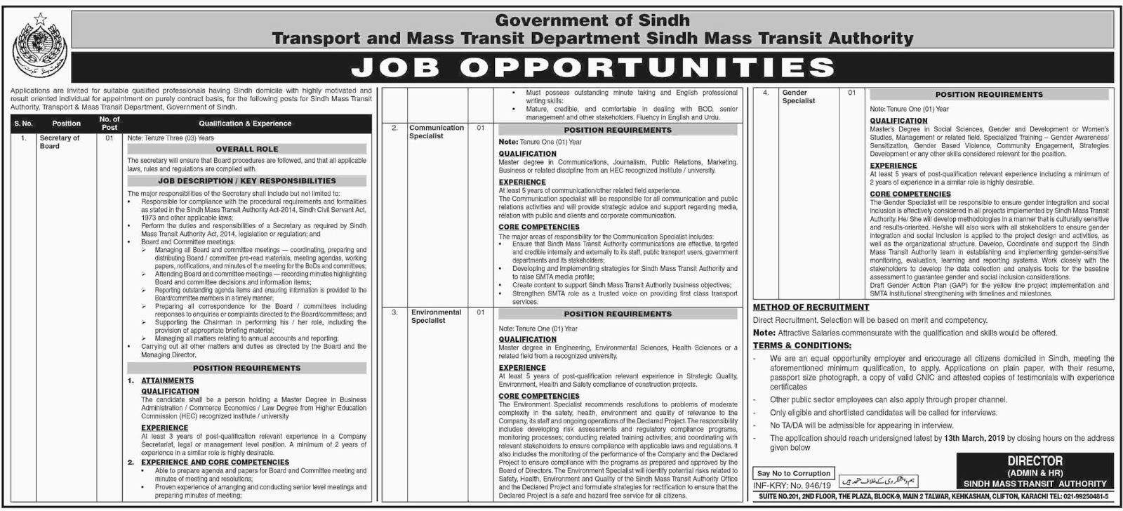 Advertisement for Transport and Mass Transit Department Sindh Jobs 2019