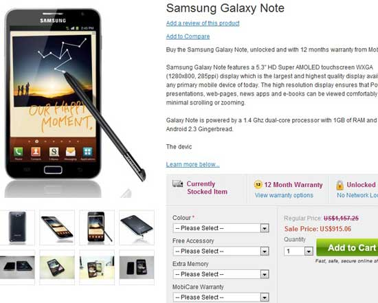 price of unlocked new samsung galaxy note