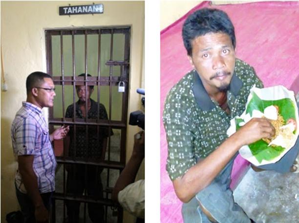 Maraknya Isu Penculikan Anak di Aceh, Seorang Warga yang mengaku bernama Joko di amankan warga ke Polsek Nurussalam untuk menghindari amuk masa
