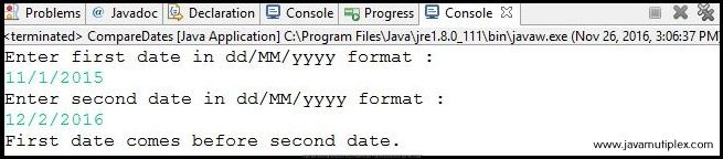 Output of Java program how to compare two given dates - case2
