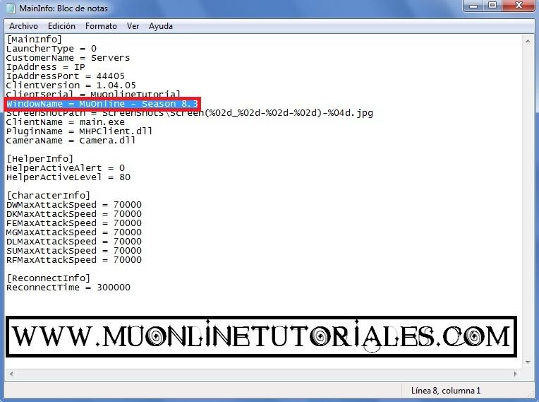 Modificando el nombre de la ventana en el archivo MainInfo.ini
