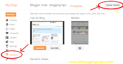 How to backup/restore your blogger template