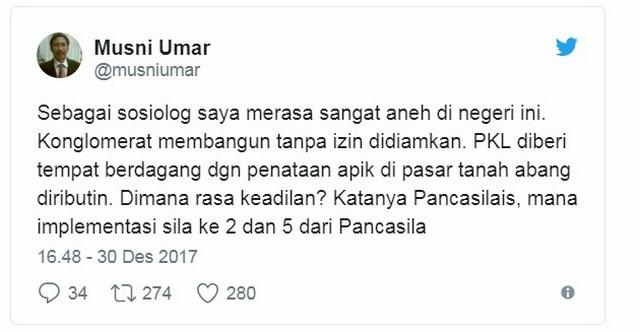 Sosiolog Musni Umar: Konglomerat Membangun Tanpa Izin Didiamkan, PKL Dibantu Diributin