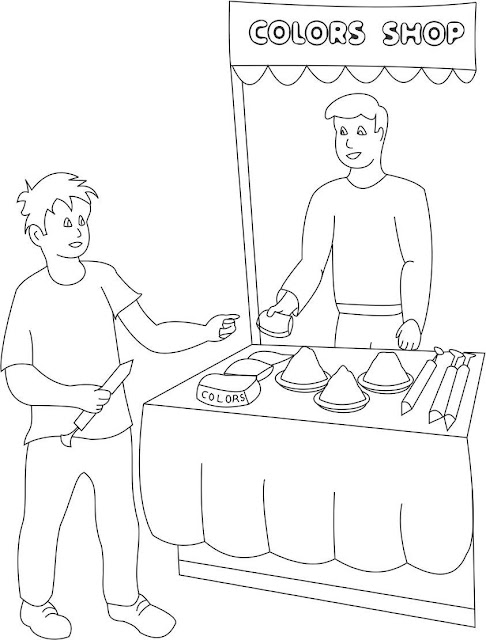 Holi Colouring Page