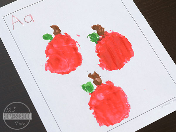 handprint apple craft for kids