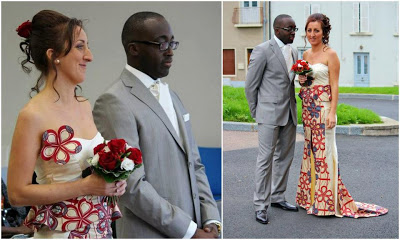 A White Lady Spotted In African Print Wedding Dress