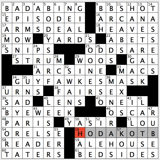 Rex Parker Does The Nyt Crossword Puzzle 1999 Prequel That Grossed