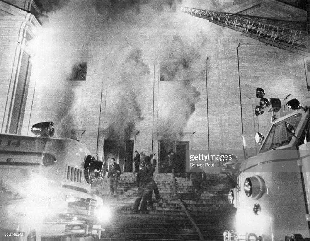 2 1961 A Two Alarm Blaze Gutted The Interior Of Phipps Auditorium In Denver City Park And Smoke From Fire Caused Damage To Adjacent Museum
