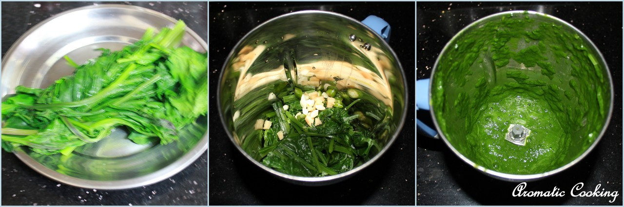 the spinach and make a puree with it along with the ginger, garlic ...