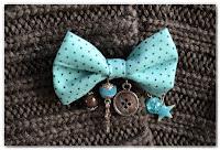broche nœud turquoise et gris