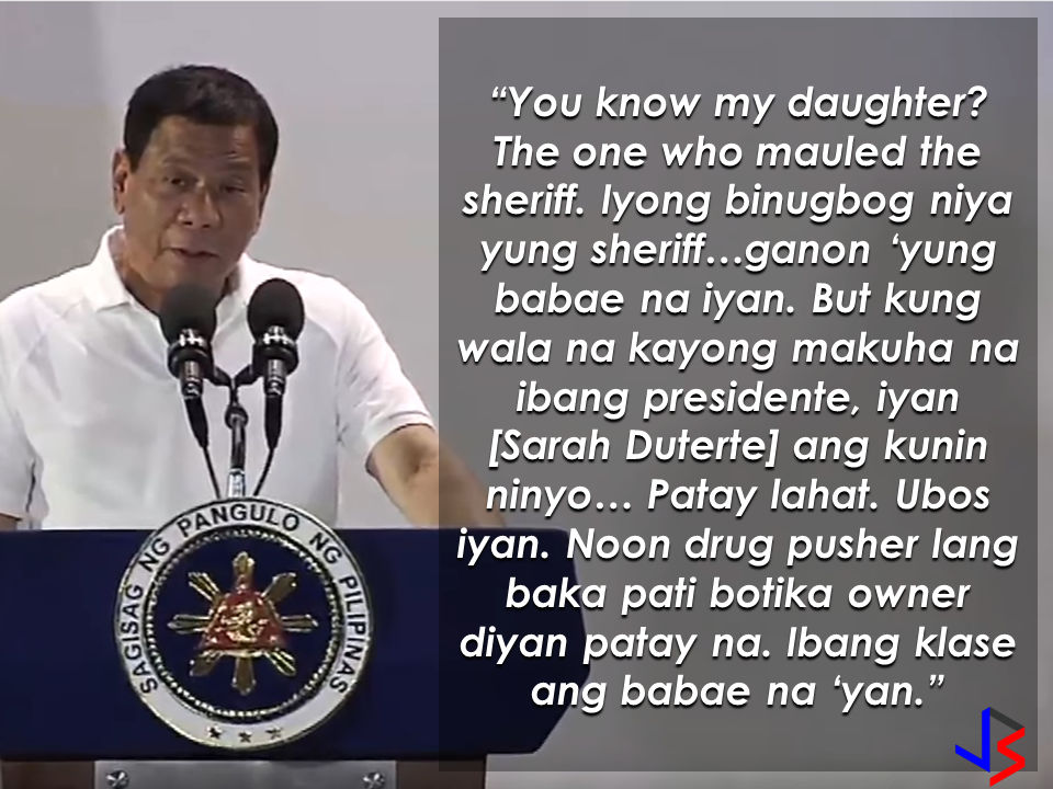 "Barely one year in office, President Rodrigo Duterte has waged war on drugs and corruption and is currently winning it. He said it will continue until the last drug lord killed and the last pusher, out of the country. President Duterte once said that nobody has a political will to do it except himself. But who will continue his crusade after his term? Does he have anyone in mind that has the same guts?  In his speech during the grand launching of CineLokal at the SM Mall of Asia, President Duterte seemingly made an indirect endorsement for his daughter Sarah Duterte for the presidency.  Does he really mean it or is it just us?  He said if the people ran out of choices, they can choose her daughter to be the next president.   President Duterte was referring to the incident where Mayor Sarah Duterte of Davao City hit the sheriff for not considering her request to postpone the demolition for the meantime and let the people relocate first before the demolition of the private property inhabited by hundreds of residents but the sheriff pushed through with the decision to demolish the area. The Mayor apologized to the sheriff after the incident. The incident happened on  July 1, 2011.  President Duterte doubts that  his advocacy will still  be continued if he stepped down from the presidency at the end of his term. If the post will be taken over with just anyone, the problem with drugs and corruption might get to worse.  This may not be a direct endorsement but President Duterte gives us a clear choice whether we want to continue fighting the menace and horror  of drugs and corruption or we will let the others get on with it and do things on their own vested personal interests.  Recommended: DOLE To Hold A Job And Business/Livelihood Fair On Labor Day   After occupying government housing project in Pandi Bulacan that has been eventually given to them by NHA, Kadamay members has a new demand on President Duterte. They want free electricity and water supply. In an hour long protest they made infront of Pandi Municipal Hall in Bulacan, some 300 members of Kadamay  wishes that their demand would be heard by the government. After acquiring the houses they illegally occupied, they demanded that electricity and water supply has to be provided by the government for free.   And it just doesn't end there, there's more. Kadamay also demanded that the government must provide them with jobs and livelihood with high income.  Kabataan party list  Rep. Sarah Elago and Anakpawis party list Representative Ariel Casilao, the plight of Kadamay does not only end on occupying government housing projects.  Casilao said that Kadamay members has no jobs and it is government's responsibility to give them adequate livelihood or jobs.  Meanwhile, Kadamay leader admitted that she has  far different status in life  compared to her members. In an interview with Sheryl Cosim on News 5, Marissa Palomeno, admitted that she has two children who are both engineers and another child who is a financial analyst in Canada. Palomeno said even though she is far well-off  as compared to her members, she does not forget where she came from and that is the common thing  that makes her cling with the poor. Recommended: DOLE To Hold A Job And Business/Livelihood Fair On Labor Day    ©2017 THOUGHTSKOTO www.jbsolis.com SEARCH JBSOLIS Meanwhile, Kadamay leader admitted that she has  far different status in life  compared to her members. In an interview with Sheryl Cosim on News 5, Marissa Palomeno, admitted that she has two children who are both engineers and another child who is a financial analyst in Canada. Palomeno said even though she is far well-off  as compared to her members, she does not forget where she came from and that is the common thing  that makes her cling with the poor.*Update: Due to the reports that Kadamay demands free water and electricity from the government, the group has shifted gears and released a public clarification that they only demand direct installation of water and electricity service. At this age where children love to stay on the couch holding their tablets and mobile phones, an elementary student chooses to be active in school and swimming which made him the ""heaviest"" elementary graduate on earth.   A student in Mabalacat, Pampanga raked 58 medals from academic and different fields. On his Facebook post, he said that this time it's heavier compared to the medals he got last year. Joshua Santiago, 12, graduated in Elementary at Mabiga Mabalacat Elementary School in Mabalacat Pampanga earlier this month. His video post with over a million views as of this writing  shows how many medals he got. Most of his medals are from the swimming competitions where he joined and won including a chance to participate at the Palarong pambansa.  His dedication and determination paid off as he graduated. This little guy inspired everyone around him especially his teammates and classmates. To collect more than 10 medals   would be enough but for him it was unbelievable.    In a facebook status, his mother made a clarification that those 58 medals was from his being an excellent swimmer and from his academic excellence. He was also awarded as ""Athlete of the Year"".    Recommended:  A cleaner in Saudi Arabia was mocked on social media after a photo of him looking at jewelry went viral. The Department of Health expressed concern  over possible mental illness among the young people due to the alarming amount of time they spend on social media.  According to DOH spokesman, Eric Tayag, while social media is a way to connect to other people, it also has adverse effects.  Tayag also said that most juveniles that are fond of social media are also involved in bullying, angst and depression.  Bullying and depression can start with issues about love, relationship with the same sex, unplanned pregnancy, problems at school, at home and health problems.  Common symptoms that a person is experiencing depression is that  they do not do daily activities normally like taking a bath, skipping meals, always sad and not engaging in conversations.   {INSERT 2-3 PARAGRAPHS HERE} {INSERT ANOTHER 5 {INSERT 2-3 PARAGRAPH   The severe depression that burdened the young people through social media results to bullying. even social media creates a connection, people with mental health issues perceive it differently.  DOH step is a response to the World Health Organization (WHO) reports that from 2005 to 2015, the number of people who suffer depression that leads to committing suicide has increased to 18%.  WHO celebrated  World health Day that focused on how to cure depression problems. It can be cured by means of counselling.  In 2005, 280 million people suffered from depression and has increased to 332 Million in 2015. This is a serious threat to all the young people around the world including the Filipino youth.  In the records of the DOH HOPE Line, they have received 3,479 depression  related phone calls in 2016. Most number of calls are recorded on November and December last year and on February this year.  Health Secretary Paulyn Jean Ubial said that the DOH has allocated P100 million funds to address the said problem in mental illness . Source: Philstar Recommended: Facebook has been a part of everyday life for many. From here they can be aware of what's currently happening around them, get in touch with old friends, some even sell things and make a living. Social media platforms like facebook provides useful informations from simple shoutouts and statuses to relevant news and current events. But lately, a lot of false news has invaded the social media spreading false and malicious posts. A lot of them is just a click bait which redirects you to a site full of ads. Some money-making maniacs are taking advantage of the popularity of social media sites making it difficult for the netizens to spot a legitimate posts from a fake one.    A wife of an OFW asked OWWA about what sort of  business she can start as a spouse of an OFW who is an active member. Samantha Natividad  said that her husband is an OFW for a long time and she wants to start a business to help her husband as their children are growing up as well as their expenses. As a helpful information for other OFW spouses  who also want to help  their OFW partners, we made this info graphics regarding this topic.  Does OWWA have an existing program for OFWs who want to start their own business? Yes. The Overseas Workers Welfare Administration (OWWA) has  two existing programs under the reintegration program  for those who want to start their own business.  What are those? In the first program, OWWA can give a 'grant' for OFW spouses who want to start even a small scale business. How much is the amount of funds OWWA can provide under this program? The fund that can be granted under this program depends on what kind of business they want to start. However, the maximum amount is only P20,000.   What is the other program? The other program is called a 'special loan program'. this loan program is through partnership with the Development Bank of the Philippines (DBP) and the Land Bank of the Philippines.  How much can an OFW spouse can avail on this program? OFWs and their spouses can avail a loan amounting from P300,000 up to P2,000,000.  How much should be the net income of an OFW to avail of this loan? For an OFW to avail of this loan, he/she must be earning a net monthly income of at least P10,000 to avail the loan amount of P3,000 up to P2 Million.    How much will be the interest rate? The loan will have an interest rate of 7.5% annually.  What will be the mode/frequency of payment? Depending on project's cash flow, the OFW can pay it on monthly, quarterly or annual basis.  Where  should the OFW wife/husband apply to avail these programs? They can apply at any OWWA Regional Welfare Office (ORW) nearest to them.  What are the eligibility requirements  for the  OFW to be qualified to avail? 1. The OFW must be an active OWWA member.  2. OFW husband/wife who want to avail must have completed the Entrepreneurial Development Training (EDT) conducted by NRCO and OWWA ORWsin cooperation with the Department of Trade and Industry/Philippine Trade Training Center (PTTC)/ Bureau of Micro, Small and Medium Enterprise Development (BSMED).  3. They must provide 20% equity.  4. The project or business must generate a net income of at least P10,000 for the OFW.  For details and information regarding these program, you can contact OWWA Regional Offices in your area.  *These information is based on the answer provided by OWWA Deputy Administrator Josefino Torres. Source: BanderaInquirer.net   Recommended:     2017 Top 10 IDEAS for OFWs to Invest  A Filipina based in Waikato, New Zealand has now been sentenced to 11 months and  2 weeks of house arrest after she was convicted for 284 immigration fraud charges involving her visa scam back in October 2015. A 180 hour community service also comes with the sentence. Loraine Anne Jayme, 35, a resident of Te Aroha, Waikato has a dual citizenship. For every OFW who wish to come to New Zealand, she charges $2,250 each. It took some time for the scam to be uncovered because Immigration New Zealand (INZ) didn't initially realise a large portion of the workers were processing their application through the alleged ringleader.   However, Immigration Minister Michael Woodhouse said that more than a thousand Filipinos who might have entered the country illegally  using fake visas could stay.  Mr. Woodland said that they could stay to avoid potential damage to the dairy industry and the rebuilding of Christchurch. There are 38,000  OFWs working on dairy farms in New Zealand and they are living with pretty good reputation with regards to their work ethics and they are worried about what it could mean to them.  ""We're law abiding people. We like to see the law of our land upheld and proper process done,"" Mr Lewis said.   ""So yeah, I have to give credit to Immigration New Zealand for doing it and hopefully they'll be back on deck next week processing them within their required rules,"" he added. The authorities are now auditing farms around the Waikato, Canterbury and Southland. Source: TVNZ, NewsHub, Inquirer RECOMMENDED:  The mother of a 12-year old girl who mysteriously died while on her father's care in Jeddah, Saudi Arabia sought the help of the Philippine government, particularly on the Presidential Action Center to help her forward the case to the DFA to allow the Philippine Consulate in Jeddah  to transmit the autopsy report conducted on her daughter.Bliss Mendoza, an OFW in Canada was working in Jeddah as a nurse together with her husband and daughter ""Tipay"" before she worked in Canada and left her daughter with her husband's care in Jeddah.     The OFWs are the reason why President Rodrigo Duterte is pushing through with the campaign on illegal drugs, acknowledging their hardships and sacrifices. He said that as he visit the countries where there are OFWs, he has heard sad stories about them: sexually abused Filipinas,domestic helpers being forced to work on a number of employers. ""I have been to many places. I have been to the Middle East. You know, the husband is working in one place, the wife in another country. The so many sad stories I hear about our women being raped, abused sexually,"" The President said. About Filipino domestic helpers, he said:  ""If you are working on a family and the employer's sibling doesn't have a helper, you will also work for them. And if in a compound,the son-in-law of the employer is also living in there, you will also work for him.So, they would finish their work on sunrise."" He even refer to the OFWs being similar to the African slaves because of the situation that they have been into for the sake of their families back home. Citing instances that some of them, out of deep despair, resorted to ending their own lives.  The President also said that he finds it heartbreaking to know that after all the sacrifices of the OFWs working abroad for the future of their families they would come home just to learn that their children has been into illegal drugs. ""I made no bones about my hatred. I said, 'If you do drugs in my city, if you destroy our daughters and sons, I'll just have to kill you.' I repeated the same warning when i became president,"" he said.   Critics of the so-called violent war on drugs under President Duterte's administration includes local and international human rights groups, linking the campaign on thousands of drug-related killings.  Police figures show that legitimate police operations have led to over 2,600 deaths of individuals involved in drugs since the war on drugs began. However, the war on drugs has been evident that the extent of drug menace should be taken seriously. The drug personalities includes high ranking officials and they thrive in the expense of our own children,if not being into drugs, being victimized by drug related crimes. The campaign on illegal drugs has somehow made a statement among the drug pushers and addicts. If the common citizen fear walking on the streets at night worrying about the drug addicts lurking in the dark, now they can walk peacefully while the drug addicts hide in fear that the police authorities might get them. Source:GMA {INSERT ALL PARAGRAPHS HERE {EMBED 3 FB PAGES POST FROM JBSOLIS/THOUGHTSKOTO/PEBA HERE OR INSERT 3 LINKS}   ©2017 THOUGHTSKOTO www.jbsolis.com SEARCH JBSOLIS The OFWs are the reason why President Rodrigo Duterte is pushing through with the campaign on illegal drugs, acknowledging their hardships and sacrifices.     ©2017 THOUGHTSKOTO www.jbsolis.com SEARCH JBSOLIS The mother of a 12-year old girl who mysteriously died while on her father's care in Jeddah, Saudi Arabia sought the help of the Philippine government, particularly on the Presidential Action Center to help her forward the case to the DFA to allow the Philippine Consulate in Jeddah  to transmit the autopsy report conducted on her daughter.Bliss Mendoza, an OFW in Canada was working in Jeddah as a nurse together with her husband and daughter ""Tipay"" before she worked in Canada and left her daughter with her husband's care in Jeddah.    The OFWs are the reason why President Rodrigo Duterte is pushing through with the campaign on illegal drugs, acknowledging their hardships and sacrifices. He said that as he visit the countries where there are OFWs, he has heard sad stories about them: sexually abused Filipinas,domestic helpers being forced to work on a number of employers. ""I have been to many places. I have been to the Middle East. You know, the husband is working in one place, the wife in another country. The so many sad stories I hear about our women being raped, abused sexually,"" The President said. About Filipino domestic helpers, he said:  ""If you are working on a family and the employer's sibling doesn't have a helper, you will also work for them. And if in a compound,the son-in-law of the employer is also living in there, you will also work for him.So, they would finish their work on sunrise."" He even refer to the OFWs being similar to the African slaves because of the situation that they have been into for the sake of their families back home. Citing instances that some of them, out of deep despair, resorted to ending their own lives.  The President also said that he finds it heartbreaking to know that after all the sacrifices of the OFWs working abroad for the future of their families they would come home just to learn that their children has been into illegal drugs. ""I made no bones about my hatred. I said, 'If you do drugs in my city, if you destroy our daughters and sons, I'll just have to kill you.' I repeated the same warning when i became president,"" he said.   Critics of the so-called violent war on drugs under President Duterte's administration includes local and international human rights groups, linking the campaign on thousands of drug-related killings.  Police figures show that legitimate police operations have led to over 2,600 deaths of individuals involved in drugs since the war on drugs began. However, the war on drugs has been evident that the extent of drug menace should be taken seriously. The drug personalities includes high ranking officials and they thrive in the expense of our own children,if not being into drugs, being victimized by drug related crimes. The campaign on illegal drugs has somehow made a statement among the drug pushers and addicts. If the common citizen fear walking on the streets at night worrying about the drug addicts lurking in the dark, now they can walk peacefully while the drug addicts hide in fear that the police authorities might get them. Source:GMA {INSERT ALL PARAGRAPHS HERE {EMBED 3 FB PAGES POST FROM JBSOLIS/THOUGHTSKOTO/PEBA HERE OR INSERT 3 LINKS}   ©2017 THOUGHTSKOTO www.jbsolis.com SEARCH JBSOLIS The OFWs are the reason why President Rodrigo Duterte is pushing through with the campaign on illegal drugs, acknowledging their hardships and sacrifices.     ©2017 THOUGHTSKOTO www.jbsolis.com SEARCH JBSOLIS  2017 Top 10 IDEAS for OFWs to Invest  A Filipina based in Waikato, New Zealand has now been sentenced to 11 months and  2 weeks of house arrest after she was convicted for 284 immigration fraud charges involving her visa scam back in October 2015. A 180 hour community service also comes with the sentence. Loraine Anne Jayme, 35, a resident of Te Aroha, Waikato has a dual citizenship. For every OFW who wish to come to New Zealand, she charges $2,250 each. It took some time for the scam to be uncovered because Immigration New Zealand (INZ) didn't initially realise a large portion of the workers were processing their application through the alleged ringleader.   However, Immigration Minister Michael Woodhouse said that more than a thousand Filipinos who might have entered the country illegally  using fake visas could stay.  Mr. Woodland said that they could stay to avoid potential damage to the dairy industry and the rebuilding of Christchurch. There are 38,000  OFWs working on dairy farms in New Zealand and they are living with pretty good reputation with regards to their work ethics and they are worried about what it could mean to them.  ""We're law abiding people. We like to see the law of our land upheld and proper process done,"" Mr Lewis said.   ""So yeah, I have to give credit to Immigration New Zealand for doing it and hopefully they'll be back on deck next week processing them within their required rules,"" he added. The authorities are now auditing farms around the Waikato, Canterbury and Southland. Source: TVNZ, NewsHub, Inquirer RECOMMENDED:  The mother of a 12-year old girl who mysteriously died while on her father's care in Jeddah, Saudi Arabia sought the help of the Philippine government, particularly on the Presidential Action Center to help her forward the case to the DFA to allow the Philippine Consulate in Jeddah  to transmit the autopsy report conducted on her daughter.Bliss Mendoza, an OFW in Canada was working in Jeddah as a nurse together with her husband and daughter ""Tipay"" before she worked in Canada and left her daughter with her husband's care in Jeddah.     The OFWs are the reason why President Rodrigo Duterte is pushing through with the campaign on illegal drugs, acknowledging their hardships and sacrifices. He said that as he visit the countries where there are OFWs, he has heard sad stories about them: sexually abused Filipinas,domestic helpers being forced to work on a number of employers. ""I have been to many places. I have been to the Middle East. You know, the husband is working in one place, the wife in another country. The so many sad stories I hear about our women being raped, abused sexually,"" The President said. About Filipino domestic helpers, he said:  ""If you are working on a family and the employer's sibling doesn't have a helper, you will also work for them. And if in a compound,the son-in-law of the employer is also living in there, you will also work for him.So, they would finish their work on sunrise."" He even refer to the OFWs being similar to the African slaves because of the situation that they have been into for the sake of their families back home. Citing instances that some of them, out of deep despair, resorted to ending their own lives.  The President also said that he finds it heartbreaking to know that after all the sacrifices of the OFWs working abroad for the future of their families they would come home just to learn that their children has been into illegal drugs. ""I made no bones about my hatred. I said, 'If you do drugs in my city, if you destroy our daughters and sons, I'll just have to kill you.' I repeated the same warning when i became president,"" he said.   Critics of the so-called violent war on drugs under President Duterte's administration includes local and international human rights groups, linking the campaign on thousands of drug-related killings.  Police figures show that legitimate police operations have led to over 2,600 deaths of individuals involved in drugs since the war on drugs began. However, the war on drugs has been evident that the extent of drug menace should be taken seriously. The drug personalities includes high ranking officials and they thrive in the expense of our own children,if not being into drugs, being victimized by drug related crimes. The campaign on illegal drugs has somehow made a statement among the drug pushers and addicts. If the common citizen fear walking on the streets at night worrying about the drug addicts lurking in the dark, now they can walk peacefully while the drug addicts hide in fear that the police authorities might get them. Source:GMA {INSERT ALL PARAGRAPHS HERE {EMBED 3 FB PAGES POST FROM JBSOLIS/THOUGHTSKOTO/PEBA HERE OR INSERT 3 LINKS}   ©2017 THOUGHTSKOTO www.jbsolis.com SEARCH JBSOLIS The OFWs are the reason why President Rodrigo Duterte is pushing through with the campaign on illegal drugs, acknowledging their hardships and sacrifices.     ©2017 THOUGHTSKOTO www.jbsolis.com SEARCH JBSOLIS The mother of a 12-year old girl who mysteriously died while on her father's care in Jeddah, Saudi Arabia sought the help of the Philippine government, particularly on the Presidential Action Center to help her forward the case to the DFA to allow the Philippine Consulate in Jeddah  to transmit the autopsy report conducted on her daughter.Bliss Mendoza, an OFW in Canada was working in Jeddah as a nurse together with her husband and daughter ""Tipay"" before she worked in Canada and left her daughter with her husband's care in Jeddah.   The OFWs are the reason why President Rodrigo Duterte is pushing through with the campaign on illegal drugs, acknowledging their hardships and sacrifices. He said that as he visit the countries where there are OFWs, he has heard sad stories about them: sexually abused Filipinas,domestic helpers being forced to work on a number of employers. ""I have been to many places. I have been to the Middle East. You know, the husband is working in one place, the wife in another country. The so many sad stories I hear about our women being raped, abused sexually,"" The President said. About Filipino domestic helpers, he said:  ""If you are working on a family and the employer's sibling doesn't have a helper, you will also work for them. And if in a compound,the son-in-law of the employer is also living in there, you will also work for him.So, they would finish their work on sunrise."" He even refer to the OFWs being similar to the African slaves because of the situation that they have been into for the sake of their families back home. Citing instances that some of them, out of deep despair, resorted to ending their own lives.  The President also said that he finds it heartbreaking to know that after all the sacrifices of the OFWs working abroad for the future of their families they would come home just to learn that their children has been into illegal drugs. ""I made no bones about my hatred. I said, 'If you do drugs in my city, if you destroy our daughters and sons, I'll just have to kill you.' I repeated the same warning when i became president,"" he said.   Critics of the so-called violent war on drugs under President Duterte's administration includes local and international human rights groups, linking the campaign on thousands of drug-related killings.  Police figures show that legitimate police operations have led to over 2,600 deaths of individuals involved in drugs since the war on drugs began. However, the war on drugs has been evident that the extent of drug menace should be taken seriously. The drug personalities includes high ranking officials and they thrive in the expense of our own children,if not being into drugs, being victimized by drug related crimes. The campaign on illegal drugs has somehow made a statement among the drug pushers and addicts. If the common citizen fear walking on the streets at night worrying about the drug addicts lurking in the dark, now they can walk peacefully while the drug addicts hide in fear that the police authorities might get them. Source:GMA {INSERT ALL PARAGRAPHS HERE {EMBED 3 FB PAGES POST FROM JBSOLIS/THOUGHTSKOTO/PEBA HERE OR INSERT 3 LINKS}   ©2017 THOUGHTSKOTO www.jbsolis.com SEARCH JBSOLIS The OFWs are the reason why President Rodrigo Duterte is pushing through with the campaign on illegal drugs, acknowledging their hardships and sacrifices.  ©2017 THOUGHTSKOTO www.jbsolis.com SEARCH JBSOLISFacebook has been a part of everyday life for many. From here they can be aware of what's currently happening around them, get in touch with old friends, some even sell things and make a living. Social media platforms like facebook provides useful informations from simple shoutouts and statuses to relevant news and current events. But lately, a lot of false news has invaded the social media spreading false and malicious posts. A lot of them is just a click bait which redirects you to a site full of ads. Some money-making maniacs are taking advantage of the popularity of social media sites making it difficult for the netizens to spot a legitimate posts from a fake one.    A wife of an OFW asked OWWA about what sort of  business she can start as a spouse of an OFW who is an active member. Samantha Natividad  said that her husband is an OFW for a long time and she wants to start a business to help her husband as their children are growing up as well as their expenses. As a helpful information for other OFW spouses  who also want to help  their OFW partners, we made this info graphics regarding this topic.  Does OWWA have an existing program for OFWs who want to start their own business? Yes. The Overseas Workers Welfare Administration (OWWA) has  two existing programs under the reintegration program  for those who want to start their own business.  What are those? In the first program, OWWA can give a 'grant' for OFW spouses who want to start even a small scale business. How much is the amount of funds OWWA can provide under this program? The fund that can be granted under this program depends on what kind of business they want to start. However, the maximum amount is only P20,000.   What is the other program? The other program is called a 'special loan program'. this loan program is through partnership with the Development Bank of the Philippines (DBP) and the Land Bank of the Philippines.  How much can an OFW spouse can avail on this program? OFWs and their spouses can avail a loan amounting from P300,000 up to P2,000,000.  How much should be the net income of an OFW to avail of this loan? For an OFW to avail of this loan, he/she must be earning a net monthly income of at least P10,000 to avail the loan amount of P3,000 up to P2 Million.    How much will be the interest rate? The loan will have an interest rate of 7.5% annually.  What will be the mode/frequency of payment? Depending on project's cash flow, the OFW can pay it on monthly, quarterly or annual basis.  Where  should the OFW wife/husband apply to avail these programs? They can apply at any OWWA Regional Welfare Office (ORW) nearest to them.  What are the eligibility requirements  for the  OFW to be qualified to avail? 1. The OFW must be an active OWWA member.  2. OFW husband/wife who want to avail must have completed the Entrepreneurial Development Training (EDT) conducted by NRCO and OWWA ORWsin cooperation with the Department of Trade and Industry/Philippine Trade Training Center (PTTC)/ Bureau of Micro, Small and Medium Enterprise Development (BSMED).  3. They must provide 20% equity.  4. The project or business must generate a net income of at least P10,000 for the OFW.  For details and information regarding these program, you can contact OWWA Regional Offices in your area.  *These information is based on the answer provided by OWWA Deputy Administrator Josefino Torres. Source: BanderaInquirer.net   Recommended:     2017 Top 10 IDEAS for OFWs to Invest  A Filipina based in Waikato, New Zealand has now been sentenced to 11 months and  2 weeks of house arrest after she was convicted for 284 immigration fraud charges involving her visa scam back in October 2015. A 180 hour community service also comes with the sentence. Loraine Anne Jayme, 35, a resident of Te Aroha, Waikato has a dual citizenship. For every OFW who wish to come to New Zealand, she charges $2,250 each. It took some time for the scam to be uncovered because Immigration New Zealand (INZ) didn't initially realise a large portion of the workers were processing their application through the alleged ringleader.   However, Immigration Minister Michael Woodhouse said that more than a thousand Filipinos who might have entered the country illegally  using fake visas could stay.  Mr. Woodland said that they could stay to avoid potential damage to the dairy industry and the rebuilding of Christchurch. There are 38,000  OFWs working on dairy farms in New Zealand and they are living with pretty good reputation with regards to their work ethics and they are worried about what it could mean to them.  ""We're law abiding people. We like to see the law of our land upheld and proper process done,"" Mr Lewis said.   ""So yeah, I have to give credit to Immigration New Zealand for doing it and hopefully they'll be back on deck next week processing them within their required rules,"" he added. The authorities are now auditing farms around the Waikato, Canterbury and Southland. Source: TVNZ, NewsHub, Inquirer RECOMMENDED:  The mother of a 12-year old girl who mysteriously died while on her father's care in Jeddah, Saudi Arabia sought the help of the Philippine government, particularly on the Presidential Action Center to help her forward the case to the DFA to allow the Philippine Consulate in Jeddah  to transmit the autopsy report conducted on her daughter.Bliss Mendoza, an OFW in Canada was working in Jeddah as a nurse together with her husband and daughter ""Tipay"" before she worked in Canada and left her daughter with her husband's care in Jeddah.     The OFWs are the reason why President Rodrigo Duterte is pushing through with the campaign on illegal drugs, acknowledging their hardships and sacrifices. He said that as he visit the countries where there are OFWs, he has heard sad stories about them: sexually abused Filipinas,domestic helpers being forced to work on a number of employers. ""I have been to many places. I have been to the Middle East. You know, the husband is working in one place, the wife in another country. The so many sad stories I hear about our women being raped, abused sexually,"" The President said. About Filipino domestic helpers, he said:  ""If you are working on a family and the employer's sibling doesn't have a helper, you will also work for them. And if in a compound,the son-in-law of the employer is also living in there, you will also work for him.So, they would finish their work on sunrise."" He even refer to the OFWs being similar to the African slaves because of the situation that they have been into for the sake of their families back home. Citing instances that some of them, out of deep despair, resorted to ending their own lives.  The President also said that he finds it heartbreaking to know that after all the sacrifices of the OFWs working abroad for the future of their families they would come home just to learn that their children has been into illegal drugs. ""I made no bones about my hatred. I said, 'If you do drugs in my city, if you destroy our daughters and sons, I'll just have to kill you.' I repeated the same warning when i became president,"" he said.   Critics of the so-called violent war on drugs under President Duterte's administration includes local and international human rights groups, linking the campaign on thousands of drug-related killings.  Police figures show that legitimate police operations have led to over 2,600 deaths of individuals involved in drugs since the war on drugs began. However, the war on drugs has been evident that the extent of drug menace should be taken seriously. The drug personalities includes high ranking officials and they thrive in the expense of our own children,if not being into drugs, being victimized by drug related crimes. The campaign on illegal drugs has somehow made a statement among the drug pushers and addicts. If the common citizen fear walking on the streets at night worrying about the drug addicts lurking in the dark, now they can walk peacefully while the drug addicts hide in fear that the police authorities might get them. Source:GMA {INSERT ALL PARAGRAPHS HERE {EMBED 3 FB PAGES POST FROM JBSOLIS/THOUGHTSKOTO/PEBA HERE OR INSERT 3 LINKS}   ©2017 THOUGHTSKOTO www.jbsolis.com SEARCH JBSOLIS The OFWs are the reason why President Rodrigo Duterte is pushing through with the campaign on illegal drugs, acknowledging their hardships and sacrifices.     ©2017 THOUGHTSKOTO www.jbsolis.com SEARCH JBSOLIS The mother of a 12-year old girl who mysteriously died while on her father's care in Jeddah, Saudi Arabia sought the help of the Philippine government, particularly on the Presidential Action Center to help her forward the case to the DFA to allow the Philippine Consulate in Jeddah  to transmit the autopsy report conducted on her daughter.Bliss Mendoza, an OFW in Canada was working in Jeddah as a nurse together with her husband and daughter ""Tipay"" before she worked in Canada and left her daughter with her husband's care in Jeddah.    The OFWs are the reason why President Rodrigo Duterte is pushing through with the campaign on illegal drugs, acknowledging their hardships and sacrifices. He said that as he visit the countries where there are OFWs, he has heard sad stories about them: sexually abused Filipinas,domestic helpers being forced to work on a number of employers. ""I have been to many places. I have been to the Middle East. You know, the husband is working in one place, the wife in another country. The so many sad stories I hear about our women being raped, abused sexually,"" The President said. About Filipino domestic helpers, he said:  ""If you are working on a family and the employer's sibling doesn't have a helper, you will also work for them. And if in a compound,the son-in-law of the employer is also living in there, you will also work for him.So, they would finish their work on sunrise."" He even refer to the OFWs being similar to the African slaves because of the situation that they have been into for the sake of their families back home. Citing instances that some of them, out of deep despair, resorted to ending their own lives.  The President also said that he finds it heartbreaking to know that after all the sacrifices of the OFWs working abroad for the future of their families they would come home just to learn that their children has been into illegal drugs. ""I made no bones about my hatred. I said, 'If you do drugs in my city, if you destroy our daughters and sons, I'll just have to kill you.' I repeated the same warning when i became president,"" he said.   Critics of the so-called violent war on drugs under President Duterte's administration includes local and international human rights groups, linking the campaign on thousands of drug-related killings.  Police figures show that legitimate police operations have led to over 2,600 deaths of individuals involved in drugs since the war on drugs began. However, the war on drugs has been evident that the extent of drug menace should be taken seriously. The drug personalities includes high ranking officials and they thrive in the expense of our own children,if not being into drugs, being victimized by drug related crimes. The campaign on illegal drugs has somehow made a statement among the drug pushers and addicts. If the common citizen fear walking on the streets at night worrying about the drug addicts lurking in the dark, now they can walk peacefully while the drug addicts hide in fear that the police authorities might get them. Source:GMA {INSERT ALL PARAGRAPHS HERE {EMBED 3 FB PAGES POST FROM JBSOLIS/THOUGHTSKOTO/PEBA HERE OR INSERT 3 LINKS}   ©2017 THOUGHTSKOTO www.jbsolis.com SEARCH JBSOLIS The OFWs are the reason why President Rodrigo Duterte is pushing through with the campaign on illegal drugs, acknowledging their hardships and sacrifices.     ©2017 THOUGHTSKOTO www.jbsolis.com SEARCH JBSOLIS  2017 Top 10 IDEAS for OFWs to Invest  A Filipina based in Waikato, New Zealand has now been sentenced to 11 months and  2 weeks of house arrest after she was convicted for 284 immigration fraud charges involving her visa scam back in October 2015. A 180 hour community service also comes with the sentence. Loraine Anne Jayme, 35, a resident of Te Aroha, Waikato has a dual citizenship. For every OFW who wish to come to New Zealand, she charges $2,250 each. It took some time for the scam to be uncovered because Immigration New Zealand (INZ) didn't initially realise a large portion of the workers were processing their application through the alleged ringleader.   However, Immigration Minister Michael Woodhouse said that more than a thousand Filipinos who might have entered the country illegally  using fake visas could stay.  Mr. Woodland said that they could stay to avoid potential damage to the dairy industry and the rebuilding of Christchurch. There are 38,000  OFWs working on dairy farms in New Zealand and they are living with pretty good reputation with regards to their work ethics and they are worried about what it could mean to them.  ""We're law abiding people. We like to see the law of our land upheld and proper process done,"" Mr Lewis said.   ""So yeah, I have to give credit to Immigration New Zealand for doing it and hopefully they'll be back on deck next week processing them within their required rules,"" he added. The authorities are now auditing farms around the Waikato, Canterbury and Southland. Source: TVNZ, NewsHub, Inquirer RECOMMENDED:  The mother of a 12-year old girl who mysteriously died while on her father's care in Jeddah, Saudi Arabia sought the help of the Philippine government, particularly on the Presidential Action Center to help her forward the case to the DFA to allow the Philippine Consulate in Jeddah  to transmit the autopsy report conducted on her daughter.Bliss Mendoza, an OFW in Canada was working in Jeddah as a nurse together with her husband and daughter ""Tipay"" before she worked in Canada and left her daughter with her husband's care in Jeddah.     The OFWs are the reason why President Rodrigo Duterte is pushing through with the campaign on illegal drugs, acknowledging their hardships and sacrifices. He said that as he visit the countries where there are OFWs, he has heard sad stories about them: sexually abused Filipinas,domestic helpers being forced to work on a number of employers. ""I have been to many places. I have been to the Middle East. You know, the husband is working in one place, the wife in another country. The so many sad stories I hear about our women being raped, abused sexually,"" The President said. About Filipino domestic helpers, he said:  ""If you are working on a family and the employer's sibling doesn't have a helper, you will also work for them. And if in a compound,the son-in-law of the employer is also living in there, you will also work for him.So, they would finish their work on sunrise."" He even refer to the OFWs being similar to the African slaves because of the situation that they have been into for the sake of their families back home. Citing instances that some of them, out of deep despair, resorted to ending their own lives.  The President also said that he finds it heartbreaking to know that after all the sacrifices of the OFWs working abroad for the future of their families they would come home just to learn that their children has been into illegal drugs. ""I made no bones about my hatred. I said, 'If you do drugs in my city, if you destroy our daughters and sons, I'll just have to kill you.' I repeated the same warning when i became president,"" he said.   Critics of the so-called violent war on drugs under President Duterte's administration includes local and international human rights groups, linking the campaign on thousands of drug-related killings.  Police figures show that legitimate police operations have led to over 2,600 deaths of individuals involved in drugs since the war on drugs began. However, the war on drugs has been evident that the extent of drug menace should be taken seriously. The drug personalities includes high ranking officials and they thrive in the expense of our own children,if not being into drugs, being victimized by drug related crimes. The campaign on illegal drugs has somehow made a statement among the drug pushers and addicts. If the common citizen fear walking on the streets at night worrying about the drug addicts lurking in the dark, now they can walk peacefully while the drug addicts hide in fear that the police authorities might get them. Source:GMA {INSERT ALL PARAGRAPHS HERE {EMBED 3 FB PAGES POST FROM JBSOLIS/THOUGHTSKOTO/PEBA HERE OR INSERT 3 LINKS}   ©2017 THOUGHTSKOTO www.jbsolis.com SEARCH JBSOLIS The OFWs are the reason why President Rodrigo Duterte is pushing through with the campaign on illegal drugs, acknowledging their hardships and sacrifices.     ©2017 THOUGHTSKOTO www.jbsolis.com SEARCH JBSOLIS The mother of a 12-year old girl who mysteriously died while on her father's care in Jeddah, Saudi Arabia sought the help of the Philippine government, particularly on the Presidential Action Center to help her forward the case to the DFA to allow the Philippine Consulate in Jeddah  to transmit the autopsy report conducted on her daughter.Bliss Mendoza, an OFW in Canada was working in Jeddah as a nurse together with her husband and daughter ""Tipay"" before she worked in Canada and left her daughter with her husband's care in Jeddah.   The OFWs are the reason why President Rodrigo Duterte is pushing through with the campaign on illegal drugs, acknowledging their hardships and sacrifices. He said that as he visit the countries where there are OFWs, he has heard sad stories about them: sexually abused Filipinas,domestic helpers being forced to work on a number of employers. ""I have been to many places. I have been to the Middle East. You know, the husband is working in one place, the wife in another country. The so many sad stories I hear about our women being raped, abused sexually,"" The President said. About Filipino domestic helpers, he said:  ""If you are working on a family and the employer's sibling doesn't have a helper, you will also work for them. And if in a compound,the son-in-law of the employer is also living in there, you will also work for him.So, they would finish their work on sunrise."" He even refer to the OFWs being similar to the African slaves because of the situation that they have been into for the sake of their families back home. Citing instances that some of them, out of deep despair, resorted to ending their own lives.  The President also said that he finds it heartbreaking to know that after all the sacrifices of the OFWs working abroad for the future of their families they would come home just to learn that their children has been into illegal drugs. ""I made no bones about my hatred. I said, 'If you do drugs in my city, if you destroy our daughters and sons, I'll just have to kill you.' I repeated the same warning when i became president,"" he said.   Critics of the so-called violent war on drugs under President Duterte's administration includes local and international human rights groups, linking the campaign on thousands of drug-related killings.  Police figures show that legitimate police operations have led to over 2,600 deaths of individuals involved in drugs since the war on drugs began. However, the war on drugs has been evident that the extent of drug menace should be taken seriously. The drug personalities includes high ranking officials and they thrive in the expense of our own children,if not being into drugs, being victimized by drug related crimes. The campaign on illegal drugs has somehow made a statement among the drug pushers and addicts. If the common citizen fear walking on the streets at night worrying about the drug addicts lurking in the dark, now they can walk peacefully while the drug addicts hide in fear that the police authorities might get them. Source:GMA {INSERT ALL PARAGRAPHS HERE {EMBED 3 FB PAGES POST FROM JBSOLIS/THOUGHTSKOTO/PEBA HERE OR INSERT 3 LINKS}   ©2017 THOUGHTSKOTO www.jbsolis.com SEARCH JBSOLIS The OFWs are the reason why President Rodrigo Duterte is pushing through with the campaign on illegal drugs, acknowledging their hardships and sacrifices. A student in Mabalacat, Pampanga raked 58 medals from academic and different fields. On his Facebook post, he said that this time it's heavier compared to the medals he got last year.Joshua Santiago, 12, graduated in Elementary at Mabiga Mabalacat Elementary School in Mabalacat Pampanga earlier this month. His video post with over a million views as of this writing  shows how many medals he got. Most of his medals are from the swimming competitions where he joined and won including a chance to participate at the Palarong pambansa.  ©2017 THOUGHTSKOTO www.jbsolis.com SEARCH JBSOLIS"