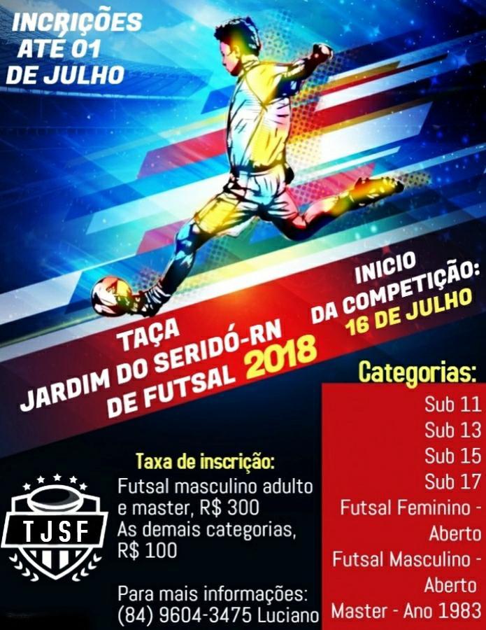 29abb80e52 Taça Jardim do Seridó de Futsal já conta com 12 equipes confirmadas e será  realizada em sete categorias