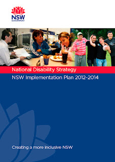 Image showing the title page of the 'National Disability Strategy NSW Implementation Plan' featuring people with disability accessing the community and work.