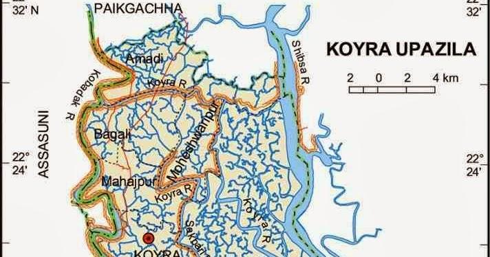 Koyra Upazila Map, Khulna District, Bangladesh