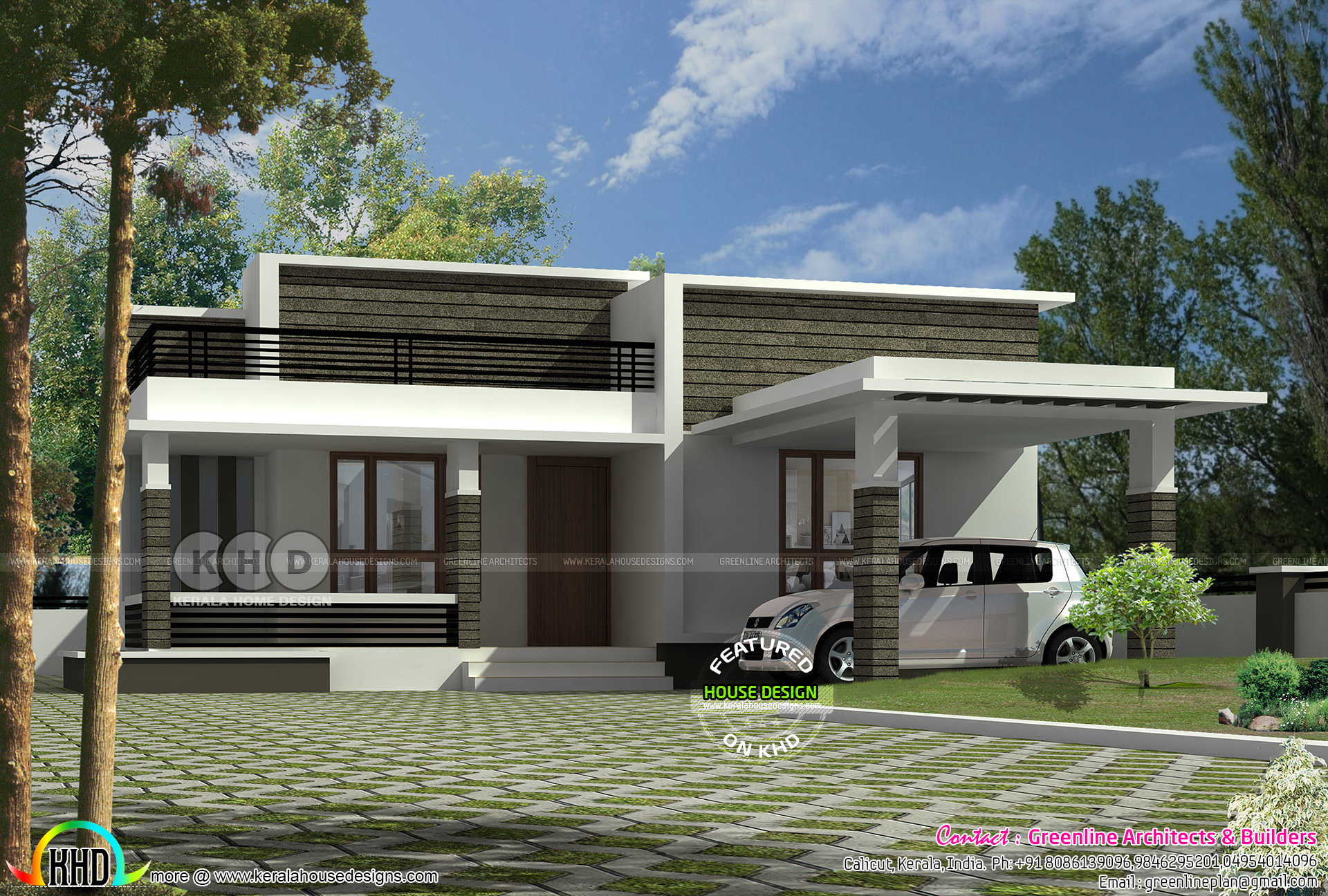 Flat Roof 1287 Sq Ft Single Floor Home Kerala Home Design And Floor Plans 8000 Houses