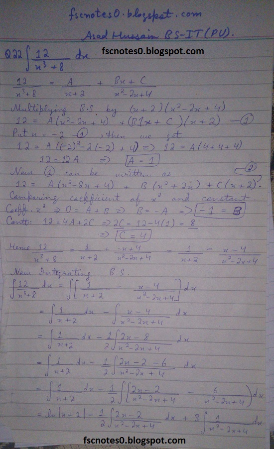 FSc ICS Notes Math Part 2 Chapter 3 Integration Exercise 3.5 question 12 - 22 by Asad Hussain 10