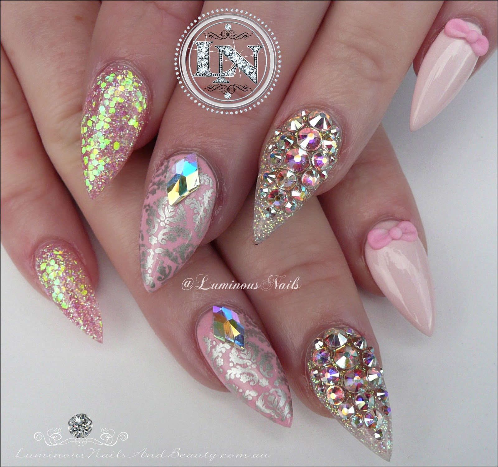 Luminous nails girly nails pretty in pink with bling cute girly nails pretty in pink with bling cute pink acrylic nails prinsesfo Choice Image