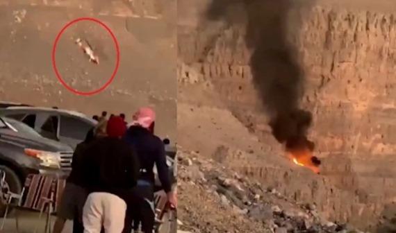 بالفيديو: لحظة تحطم مروحية في إمارة رأس الخيمة في الامارات ومقتل طاقمها.