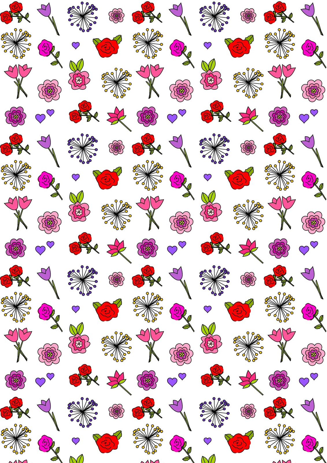 Meinlilapark Free Digital Flower Scrapbooking Paper Printable Happy Flower Coloring For Valentines Day