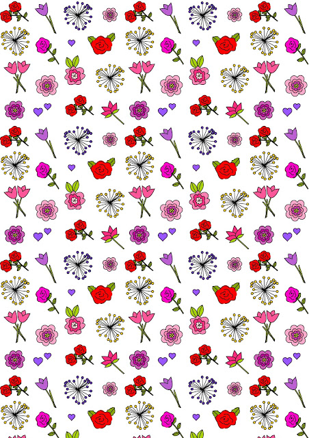 Free digital flower scrapbooking paper + printable happy flower coloring for Valentines Day