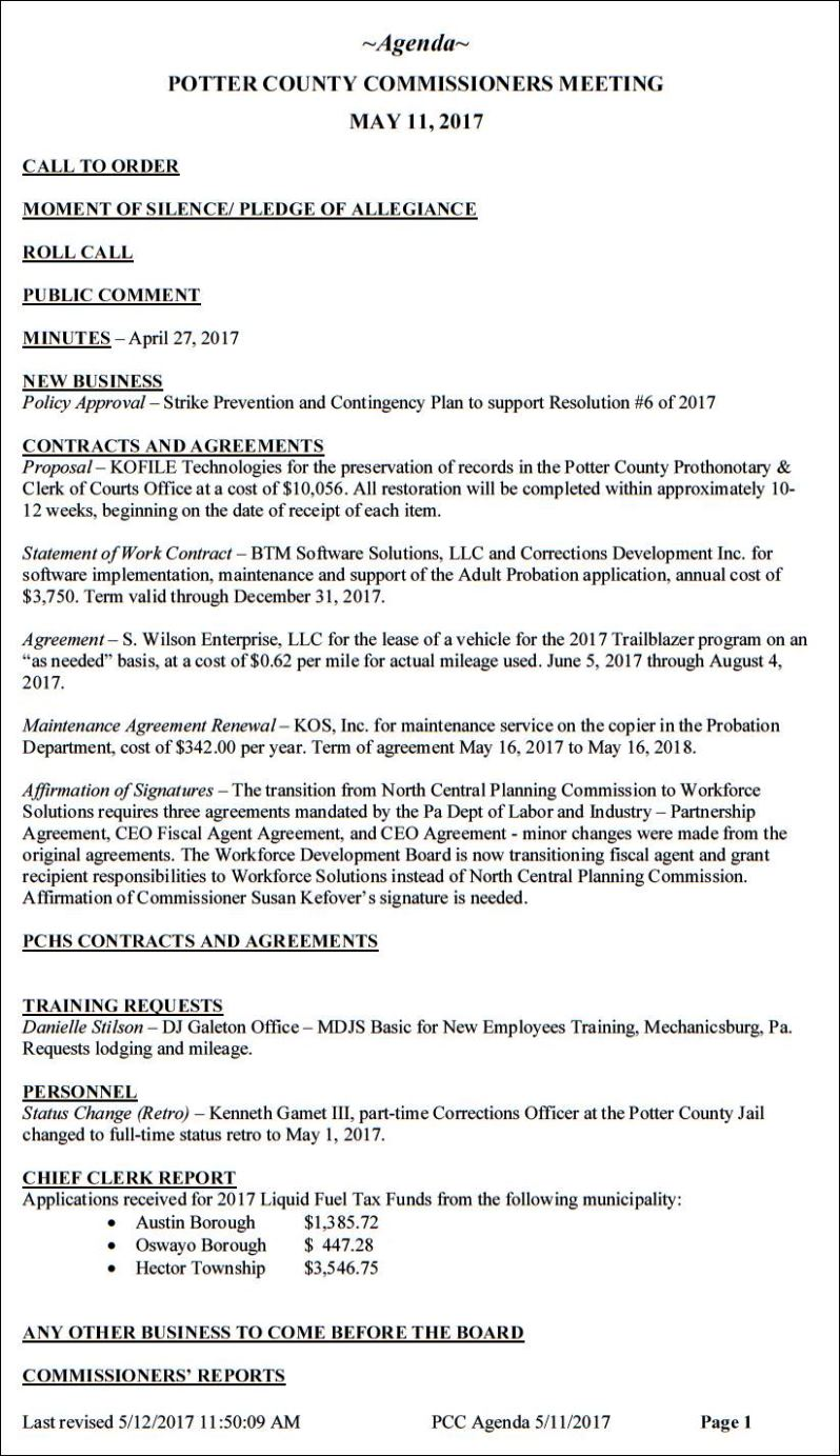 Solomons Words For The Wise Potter County Commissioners Agenda For