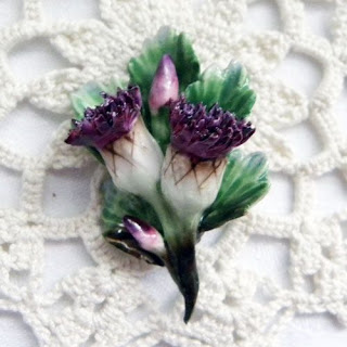 Bone china Scottish thistle brooch vintage