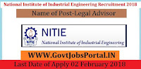 National Institute of Industrial Engineering Mumbai Recruitment 2018 – Legal Advisor