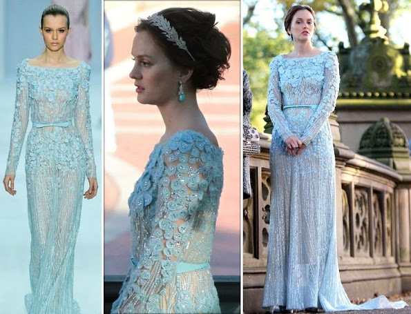 Leighton Meester and Blake Lively were spotted shooting scenes for Gossip Girl in Central Park. Leighton was wearing an Elie Saab Spring 2012 gown