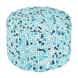 Pouf Pillows for Mother's Day - Shades of Teal Blue Stylish Mosaic Patterned Pouf