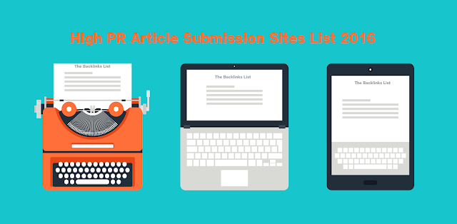List of Article Submission Sites 2016 | The backlinks List