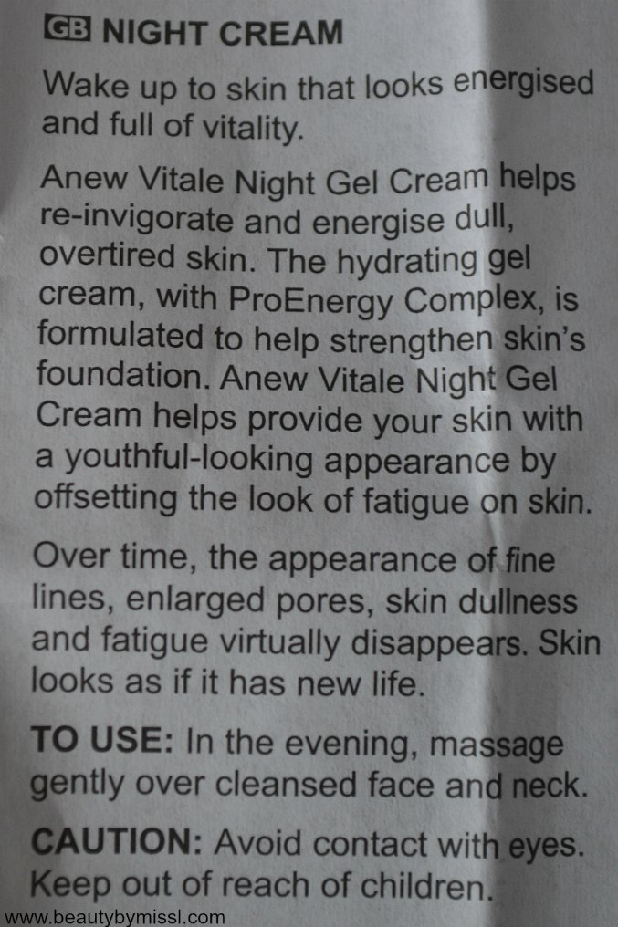 Avon Anew Vitale Night Gel Cream information