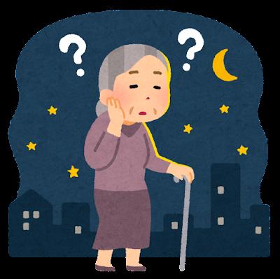 深夜徘徊をする高齢者のイラスト(おばあさん)