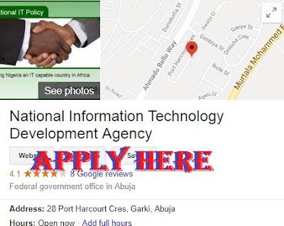National Information Technology Development Agency Recruitment 2018/2019 - NITDA Application Form Portal