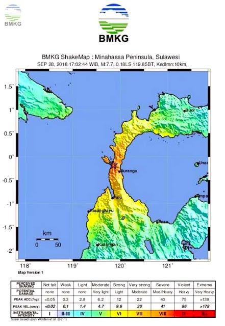 Gambar Peta Goncangan Gempa dan Tsunami Palu