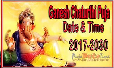 Ganesh Chaturthi Puja Calendar 2017 To 2030