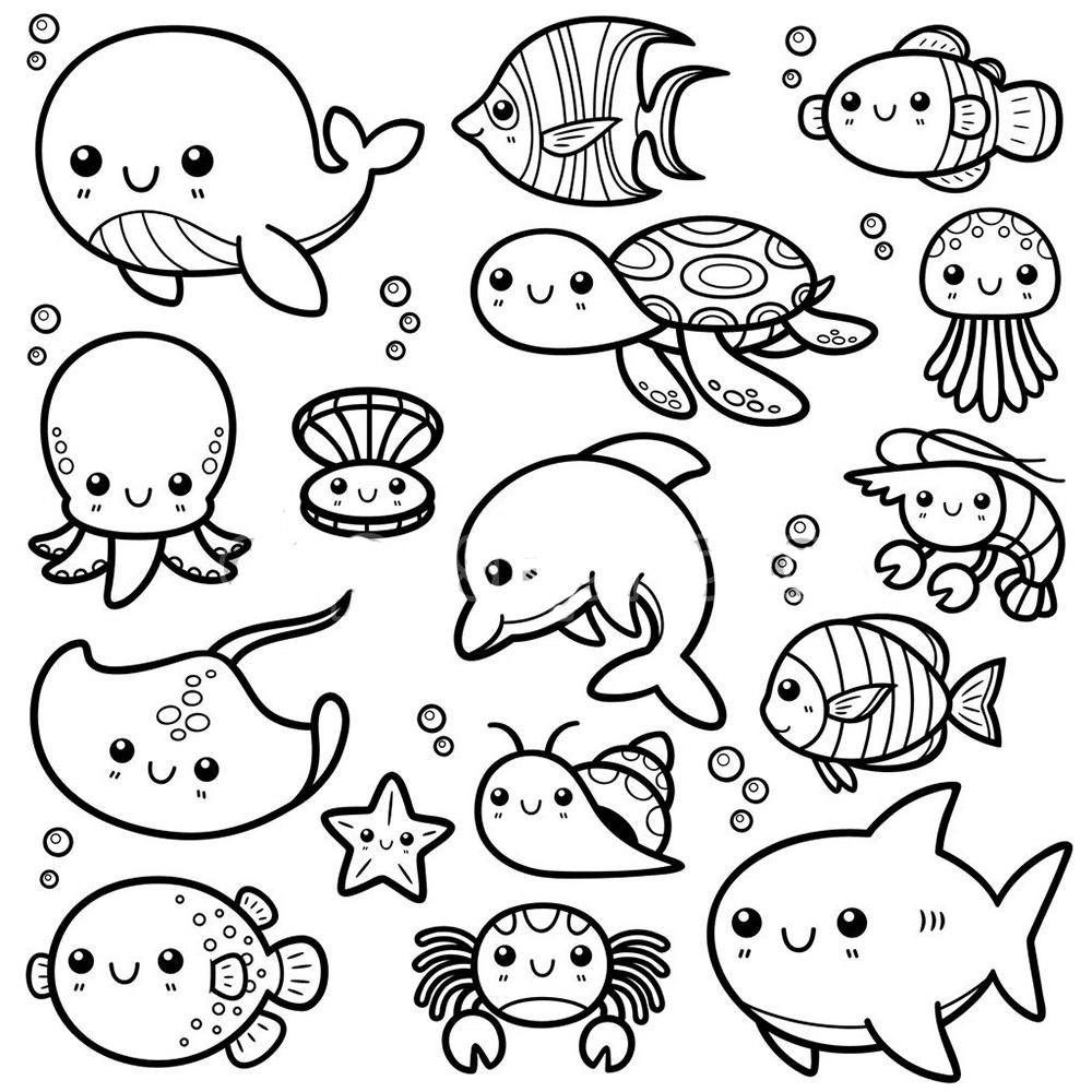 Zona Ilmu 2 Gambar Mewarnai Hewan Laut