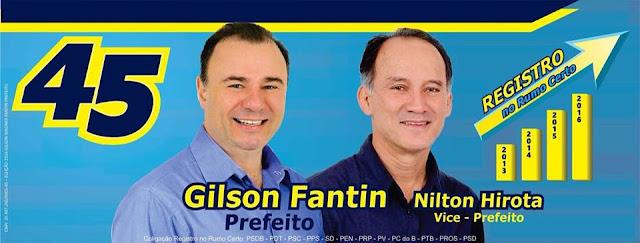 Gilson Fantin é reeleito prefeito em Registro-SP