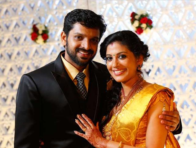 Actress Shivada Nair and actor Murali Krishnan during their wedding reception