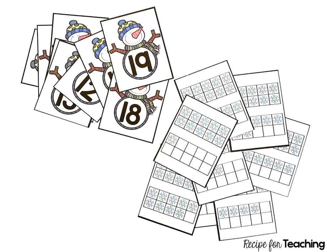 Snowman Teen Number And Ten Frame Match
