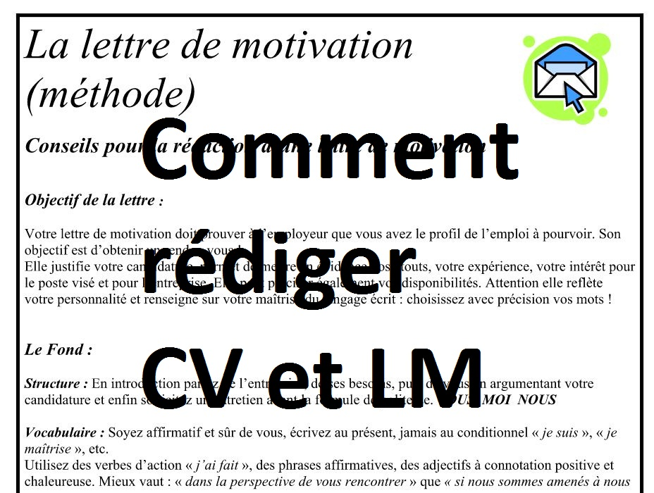 comment  u00e9crire un cv et un lettre de motivation