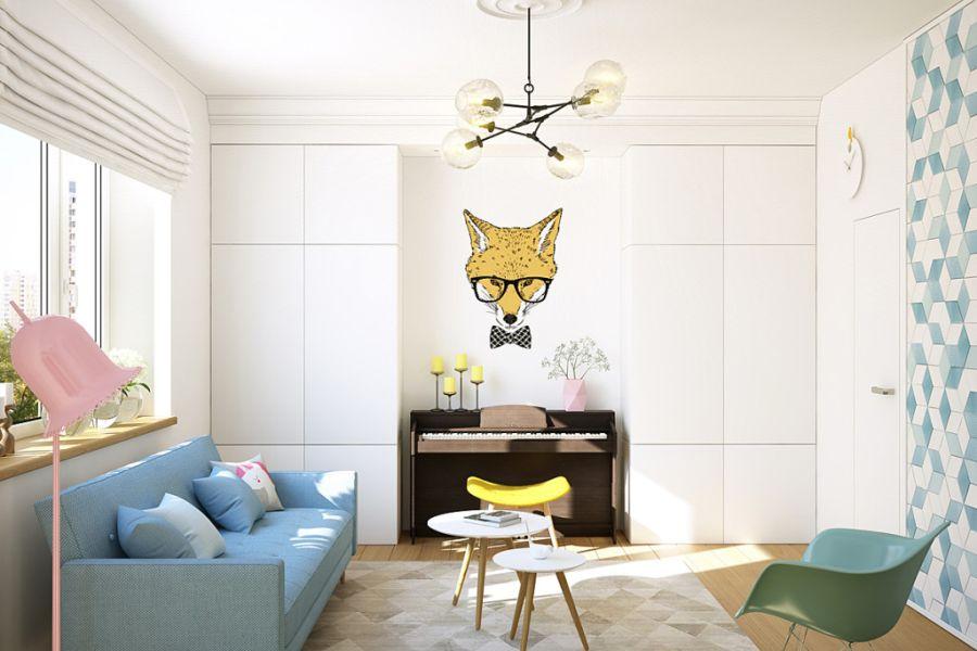 wystrój wnętrz, wnętrza, urządzanie mieszkania, dom, home decor, dekoracje, aranżacje, małe wnętrza, małe mieszkanie, styl nowoczesny, modern style, kolorowe dodatki, color decor, pastelowe kolory, salon, living room, kuchnia, kitchen, listek
