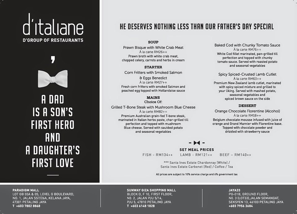 Father S Day Promotion At D Italiane Malaysian Foodie