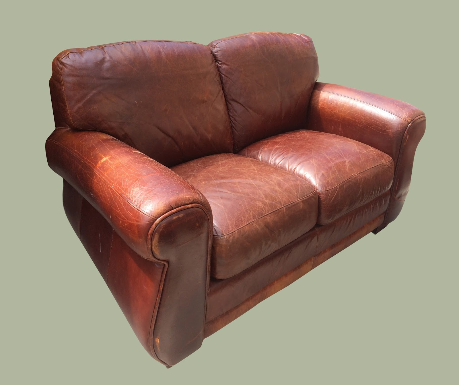 Uhuru Furniture Collectibles Distressed Leather Loveseat 225 Sold
