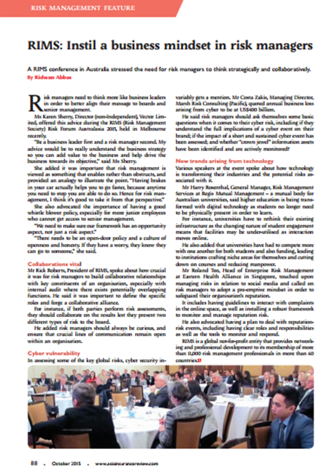 Coso 2016 enterprise risk management aligning risk with strategy - Rims Risk Management Society Risk Forum Australasia 2015 Held In Melbourne Featured By Asia Insurance Review