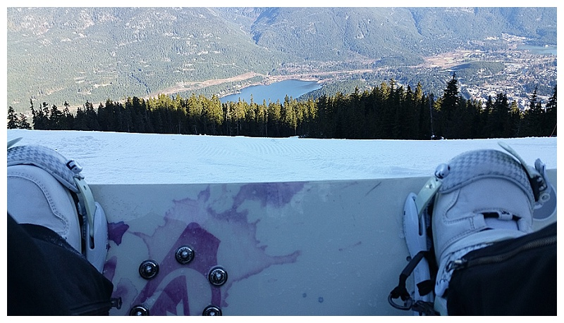 Roxy snowboard looking out over Whistler