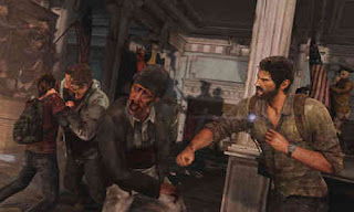 Joel fights zombies